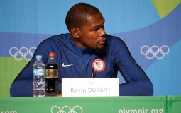 Kevin Durant of the United States speaks with the media during a press conference at the Main Press Centre ahead of the Rio 2016 Olympic Games on August 4, 2016 in Rio de Janeiro, Brazil.
