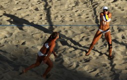 Brooke Sweat and Lauren Fendrick of United States in action playing against Ekaterina Birlova and Evgenia Ukolova of Russia during the Beach Volleyball - Women's Preliminary - Pool A, Match 25 on Day 6 of the Rio 2016 Olympics at the Beach Volleyball Aren