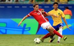 Douglas Santos of Brazil in action during the match Brazil v Denmark.