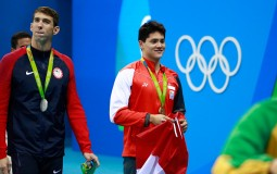 Michael Phelps and Joseph Schooling After Men's 100m Butterfly Final