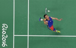 Chong Wei Lee of Malaysia in action during his Badminton Mens Singles match against Liang Derek Wong Zi of Singapore on Day 9 of the Rio 2016 Olympic Games