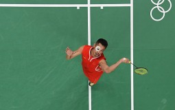 Dan Lin of China in action during his Badminton Mens Singles match