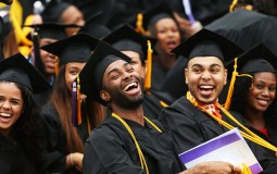 College students celebrating their graduation day