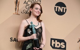 Actor Emma Stone, winner of the Outstanding Performance by a Female Actor in a Leading Role award for 'La La Land,'