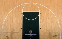 General view of the key and hoop in a basketball game, UConn versus Tulsa