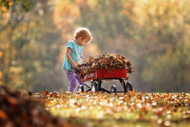 child pushing wagon