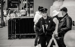 Policeman in a Crowded Area